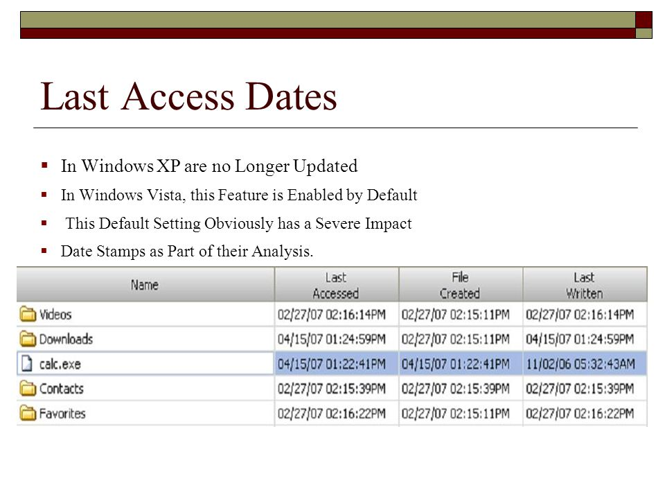 Last Access Dates  In Windows XP are no Longer Updated  In Windows Vista, this Feature is Enabled by Default  This Default Setting Obviously has a Severe Impact  Date Stamps as Part of their Analysis.