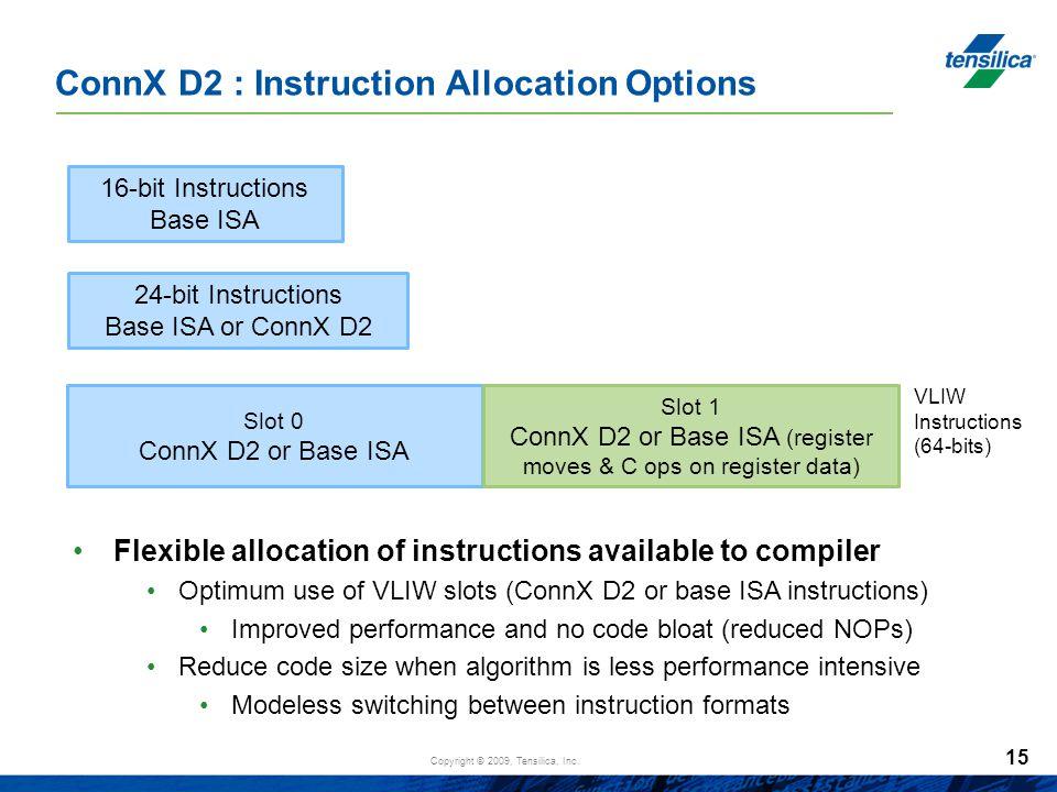 Copyright © 2009, Tensilica, Inc. 15 ConnX D2 : Instruction Allocation Options 16-bit Instructions Base ISA 24-bit Instructions Base ISA or ConnX D2 S