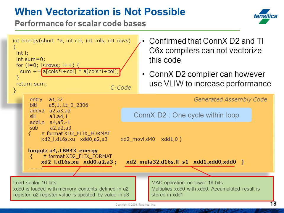 Copyright © 2009, Tensilica, Inc. When Vectorization is Not Possible Performance for scalar code bases Confirmed that ConnX D2 and TI C6x compilers ca
