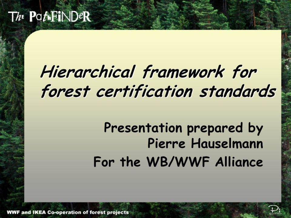 Pi Environmental Consulting π Hierarchical framework for forest certification standards Presentation prepared by Pierre Hauselmann For the WB/WWF Alliance