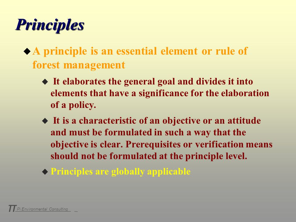 Pi Environmental Consulting π Principles u A principle is an essential element or rule of forest management u It elaborates the general goal and divides it into elements that have a significance for the elaboration of a policy.