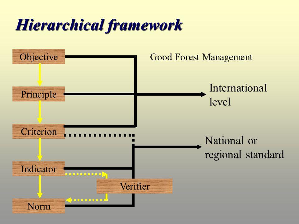 Objective Principle Criterion Indicator Norm International level Verifier National or regional standard Good Forest Management Hierarchical framework