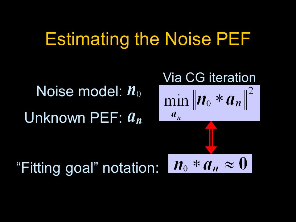 Estimating the Noise PEF Noise model: Unknown PEF: Via CG iteration Fitting goal notation: