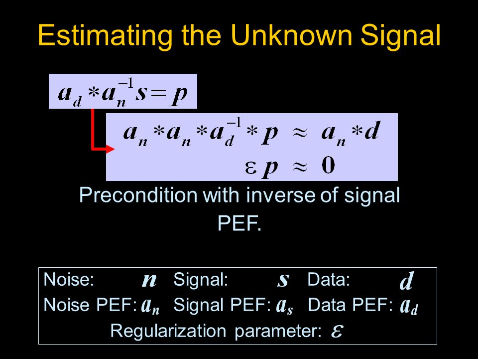 Noise: Signal: Data: Noise PEF: Signal PEF: Data PEF: Regularization parameter: Estimating the Unknown Signal Precondition with inverse of signal PEF.