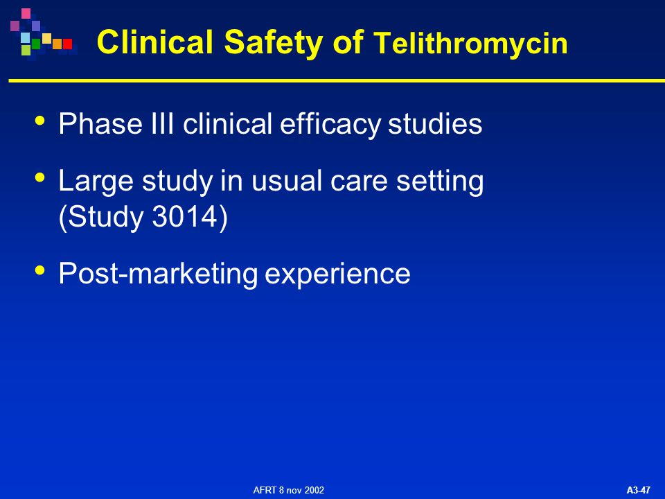 AFRT 8 nov 2002 A3-47 Clinical Safety of Telithromycin Phase III clinical efficacy studies Large study in usual care setting (Study 3014) Post-marketing experience