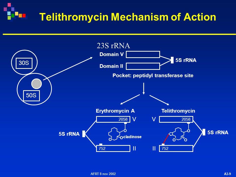 AFRT 8 nov 2002 A3-9 Telithromycin Mechanism of Action 5S rRNA Domain V Domain II Pocket: peptidyl transferase site 5S rRNA 2058 752 V II V Erythromycin ATelithromycin 2058 752 30S 50S O O O O O O -cladinose 23S rRNA