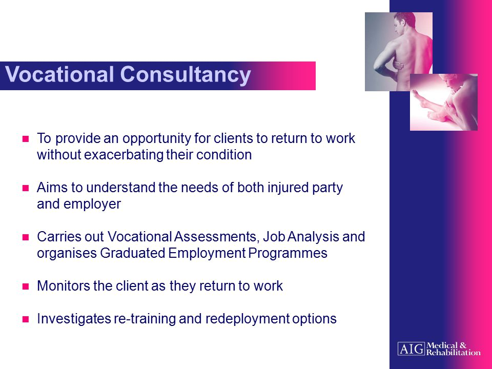 The Vocational Consultant Has experience of working with people with disabilities in employment settings Aware of issues concerning physical disabilities, learning difficulties, mental health issues and sensory disabilities Aware of available private services and public funded opportunities Find employment solutions through creative thinking Is able to effectively liaise with solicitors, employers and clients in a variety of work settings