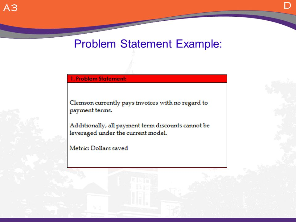 Problem Statement Example: A3 D
