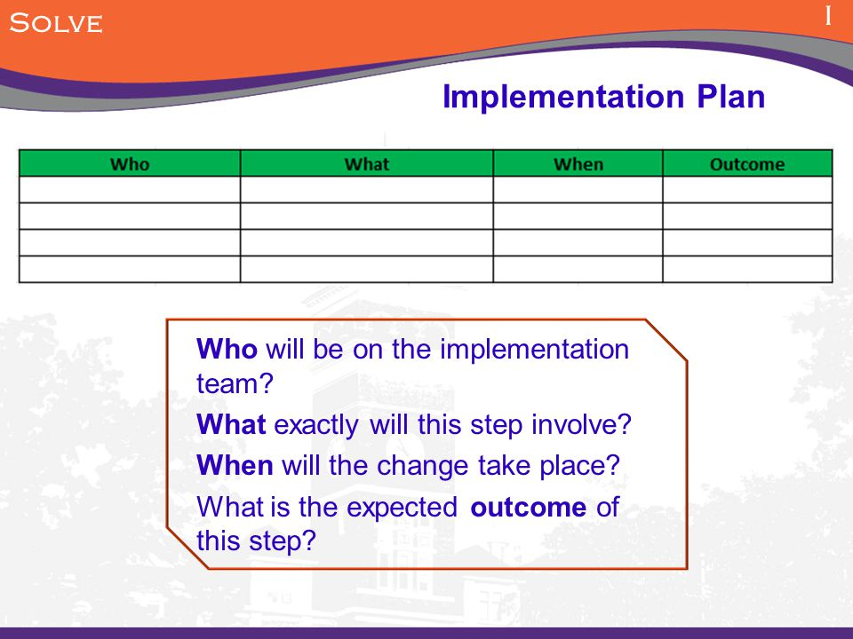I Solve Who will be on the implementation team.What exactly will this step involve.