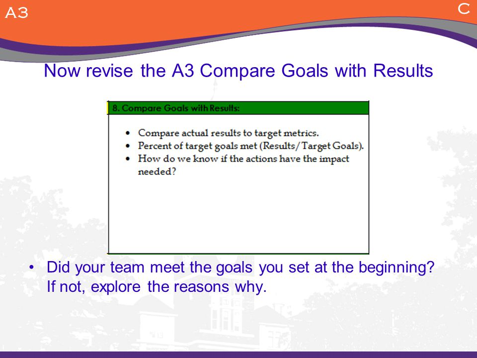 Now revise the A3 Compare Goals with Results Did your team meet the goals you set at the beginning.