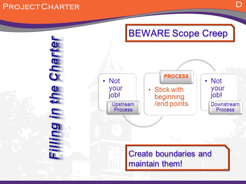 D Project Charter BEWARE Scope Creep Not your job.