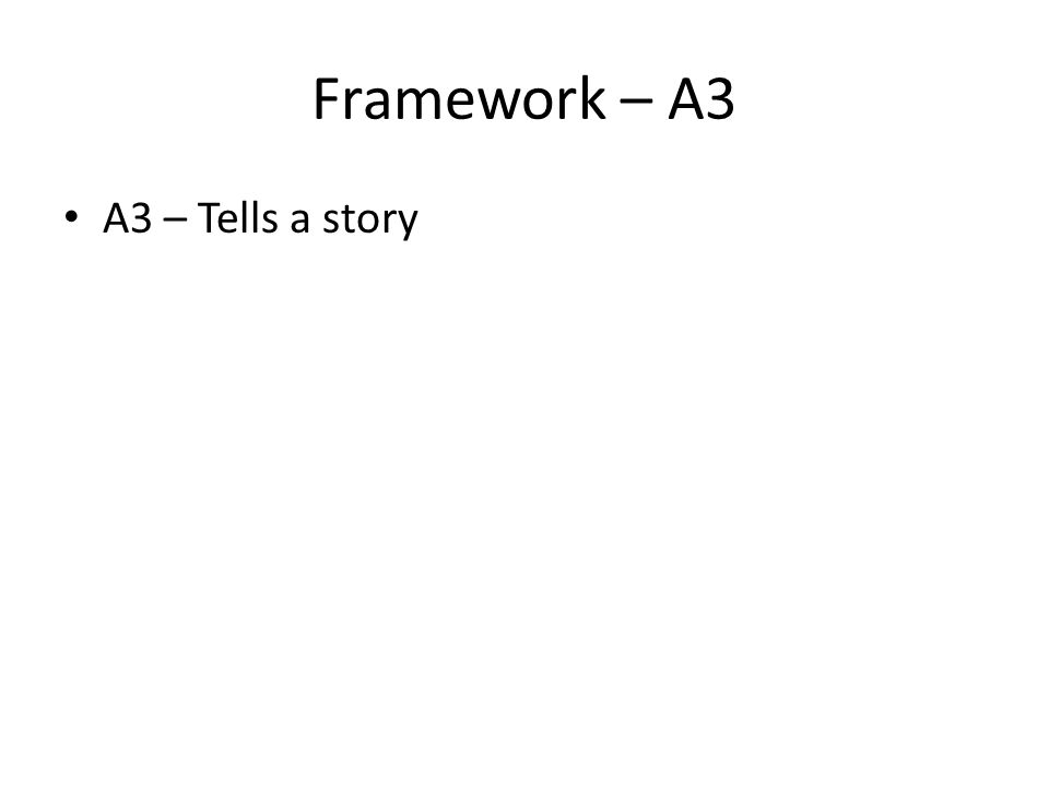 Framework – A3 A3 – Tells a story