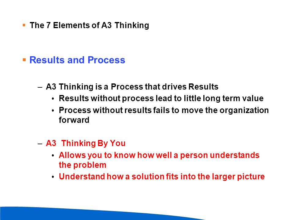  Results and Process –A3 Thinking is a Process that drives Results Results without process lead to little long term value Process without results fai