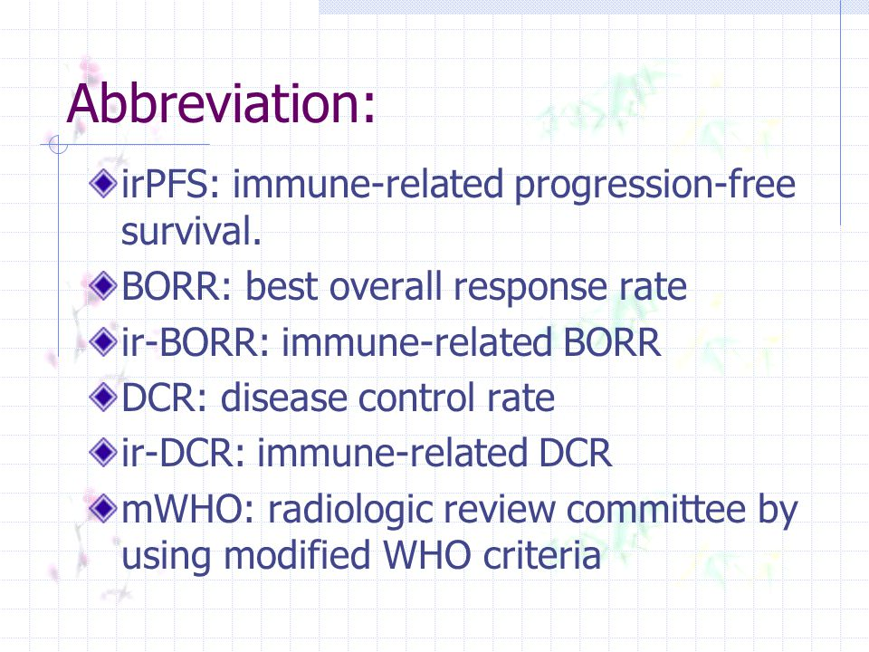 Abbreviation: irPFS: immune-related progression-free survival. BORR: best overall response rate ir-BORR: immune-related BORR DCR: disease control rate