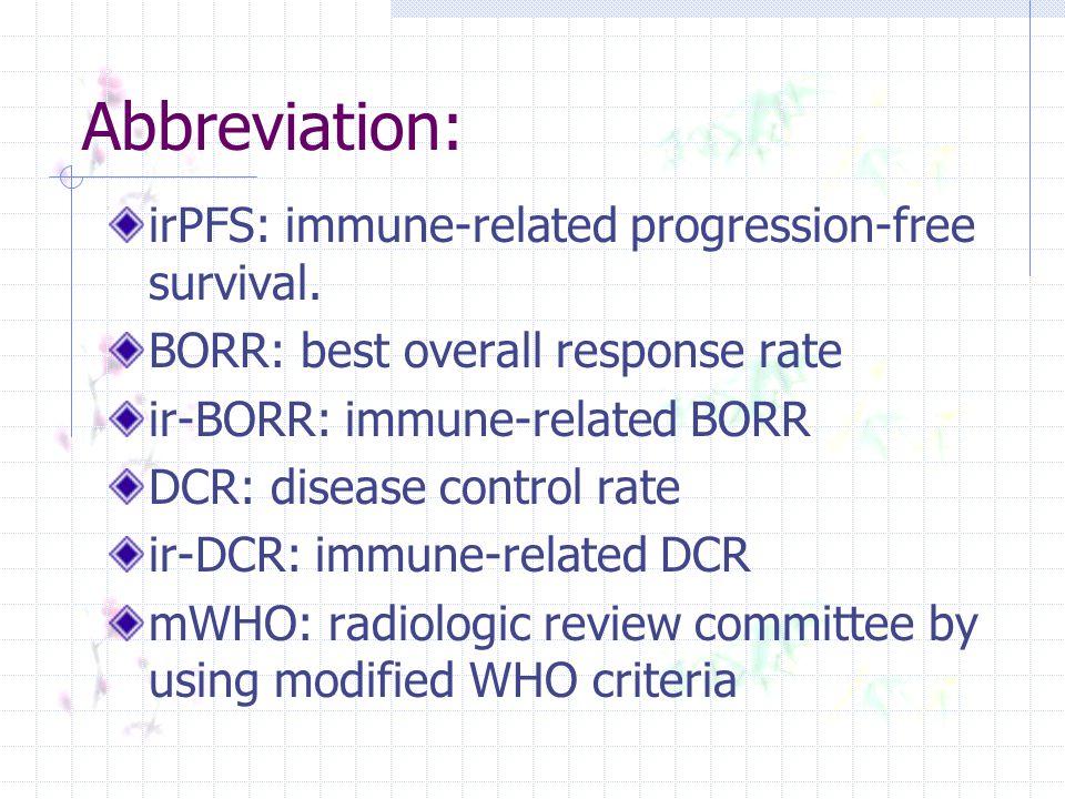 Abbreviation: irPFS: immune-related progression-free survival.
