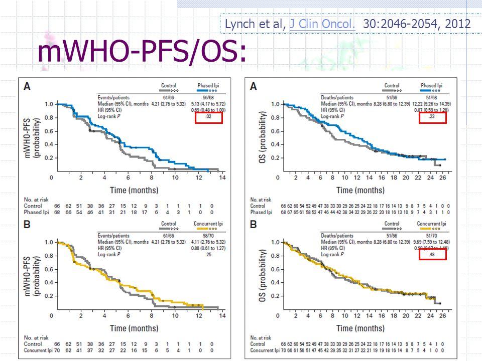 mWHO-PFS/OS: Lynch et al, J Clin Oncol. 30:2046-2054, 2012J Clin Oncol.