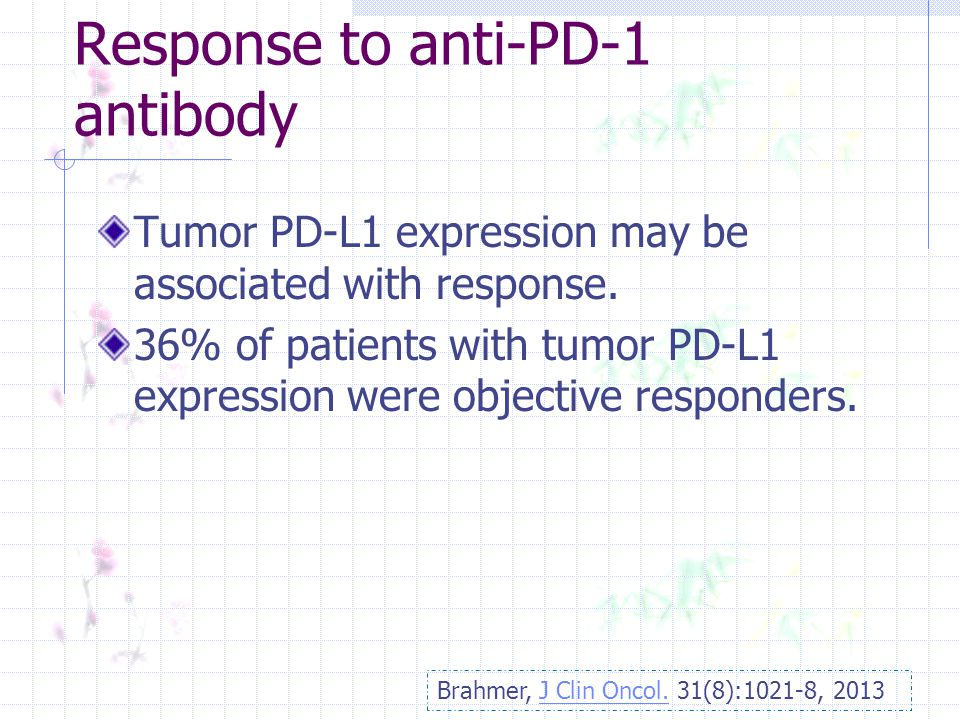 Response to anti-PD-1 antibody Tumor PD-L1 expression may be associated with response.