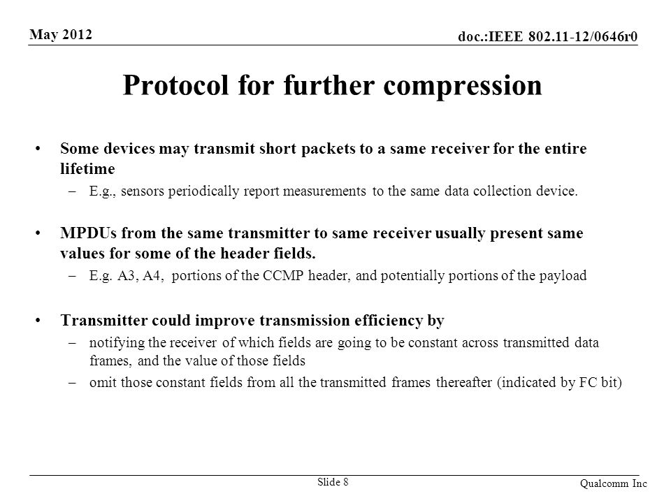 doc.:IEEE 802.11-12/0646r0 May 2012 Qualcomm Inc Compression Setup Tx sends a Header-Compression Request (HC-Req) management frame before the Data frames.