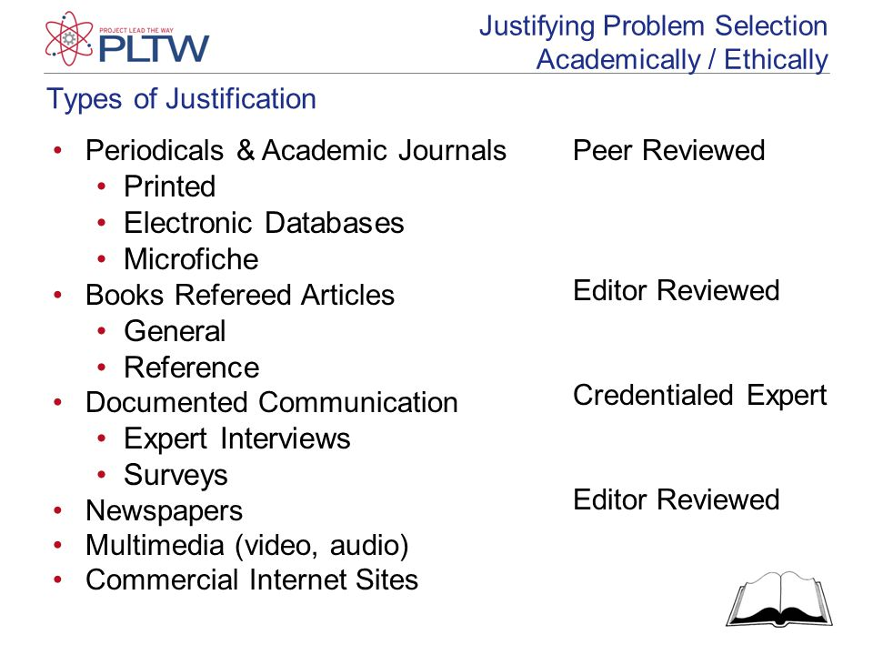 Types of Justification Justifying Problem Selection Academically / Ethically Periodicals & Academic Journals Printed Electronic Databases Microfiche Books Refereed Articles General Reference Documented Communication Expert Interviews Surveys Newspapers Multimedia (video, audio) Commercial Internet Sites Peer Reviewed Editor Reviewed Credentialed Expert Editor Reviewed