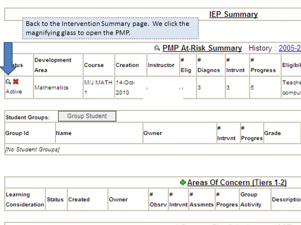 Back to the Intervention Summary page. We click the magnifying glass to open the PMP.