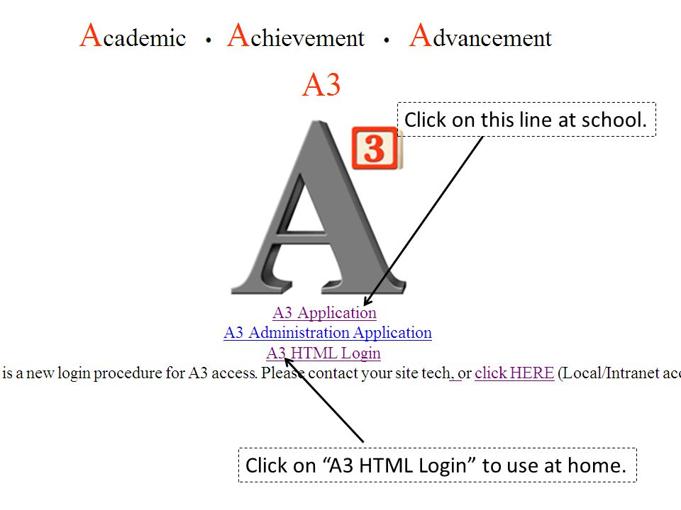 Click on this line at school. Click on A3 HTML Login to use at home.