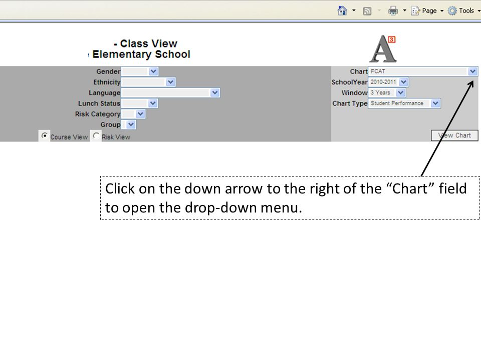 Click on the down arrow to the right of the Chart field to open the drop-down menu.