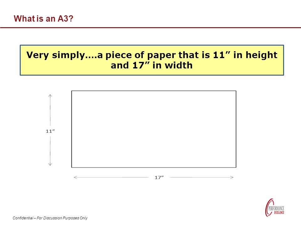 """Confidential – For Discussion Purposes Only What is an A3? Very simply….a piece of paper that is 11"""" in height and 17"""" in width"""