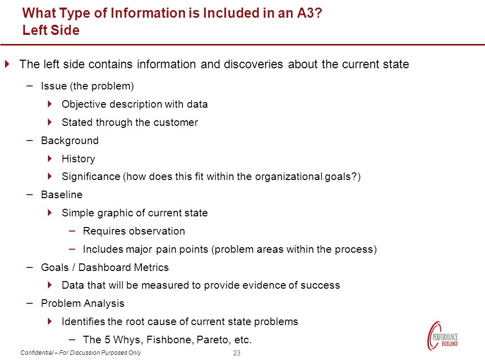Confidential – For Discussion Purposes Only What Type of Information is Included in an A3? Left Side  The left side contains information and discover