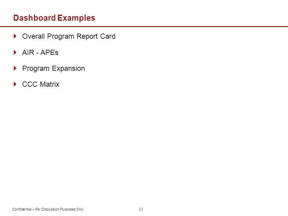 Confidential – For Discussion Purposes Only Dashboard Examples  Overall Program Report Card  AIR - APEs  Program Expansion  CCC Matrix 33
