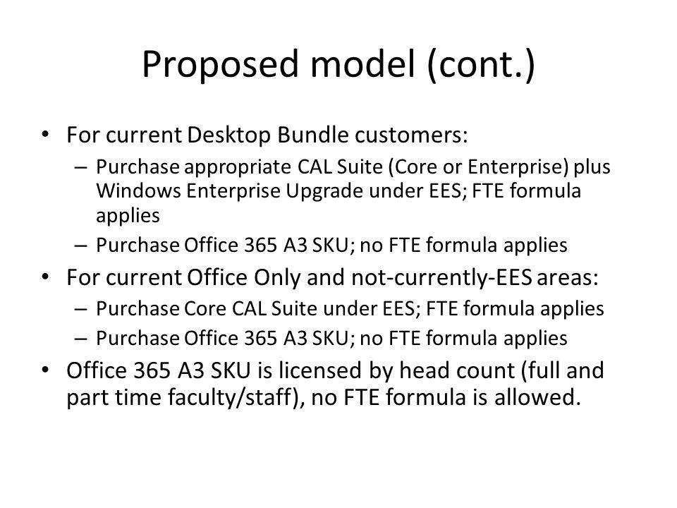 Proposed model (cont.) For current Desktop Bundle customers: – Purchase appropriate CAL Suite (Core or Enterprise) plus Windows Enterprise Upgrade und