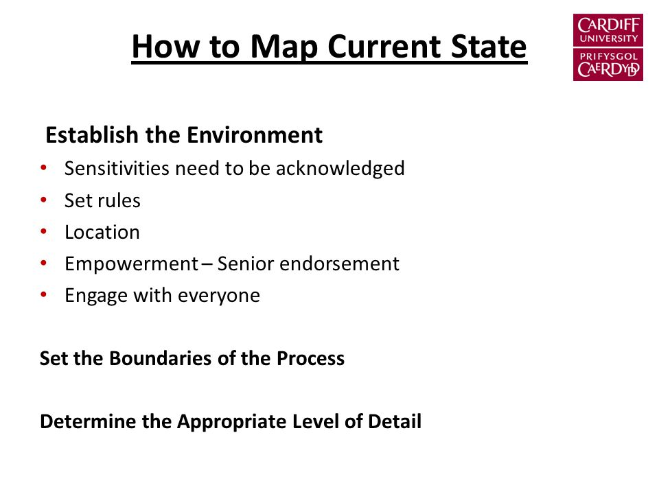 How to Map Current State Establish the Environment Sensitivities need to be acknowledged Set rules Location Empowerment – Senior endorsement Engage with everyone Set the Boundaries of the Process Determine the Appropriate Level of Detail