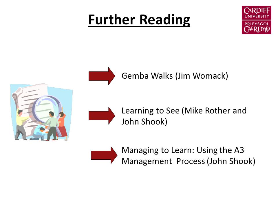 Further Reading Gemba Walks (Jim Womack) Learning to See (Mike Rother and John Shook) Managing to Learn: Using the A3 Management Process (John Shook)