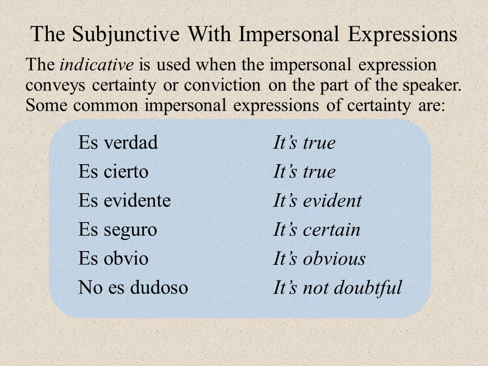 The indicative is used when the impersonal expression conveys certainty or conviction on the part of the speaker.