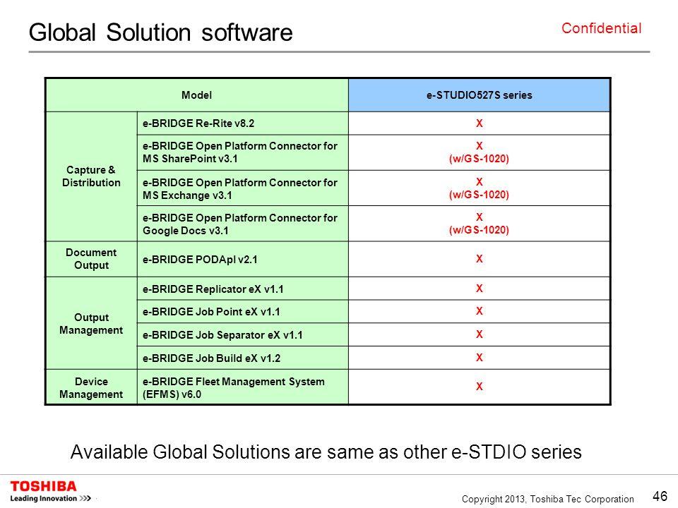 46 Copyright 2013, Toshiba Tec Corporation Confidential Available Global Solutions are same as other e-STDIO series Modele-STUDIO527S series Capture & Distribution e-BRIDGE Re-Rite v8.2X e-BRIDGE Open Platform Connector for MS SharePoint v3.1 X (w/GS-1020) e-BRIDGE Open Platform Connector for MS Exchange v3.1 X (w/GS-1020) e-BRIDGE Open Platform Connector for Google Docs v3.1 X (w/GS-1020) Document Output e-BRIDGE PODApl v2.1X Output Management e-BRIDGE Replicator eX v1.1X e-BRIDGE Job Point eX v1.1X e-BRIDGE Job Separator eX v1.1X e-BRIDGE Job Build eX v1.2X Device Management e-BRIDGE Fleet Management System (EFMS) v6.0 X Global Solution software