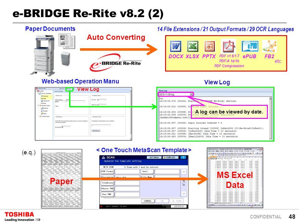 48 CONFIDENTIAL e-BRIDGE Re-Rite v8.2 (2) Auto Converting Paper Documents (e.q.) Paper MS Excel Data DOCX PDF v1.6/1.7 PDF/A 1a/1b PDF Compression XLSXePUBPPTXFB2 etc.