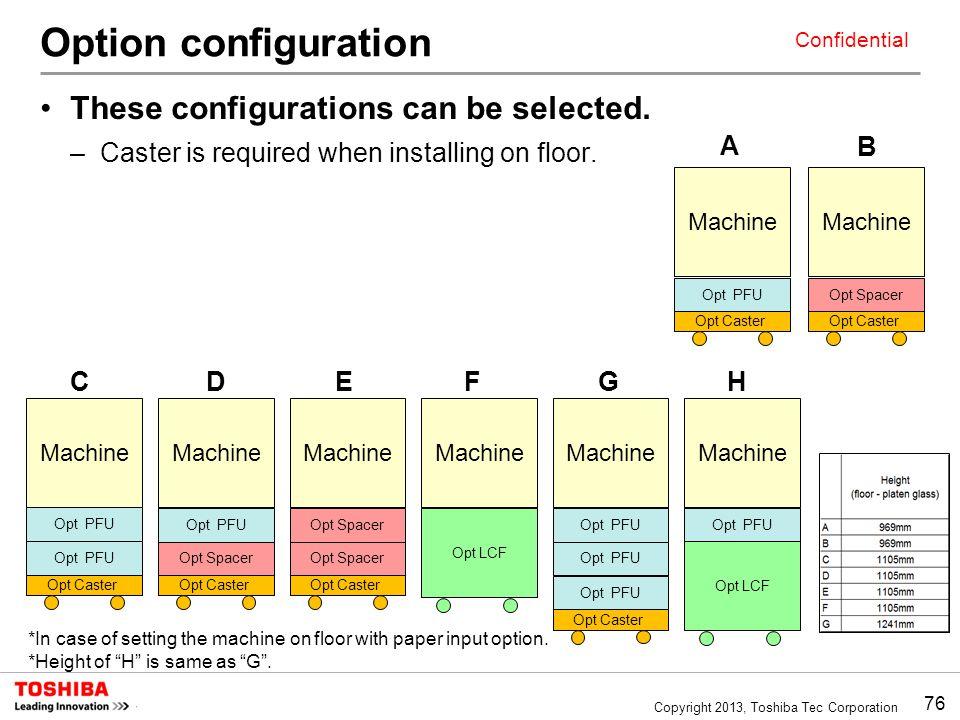 76 Copyright 2013, Toshiba Tec Corporation Confidential Option configuration These configurations can be selected.