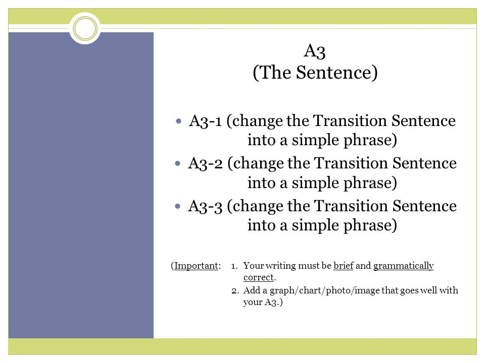A3-1 (change the Transition Sentence into a simple phrase) A3-2 (change the Transition Sentence into a simple phrase) A3-3 (change the Transition Sentence into a simple phrase) (Important:1.Your writing must be brief and grammatically correct.