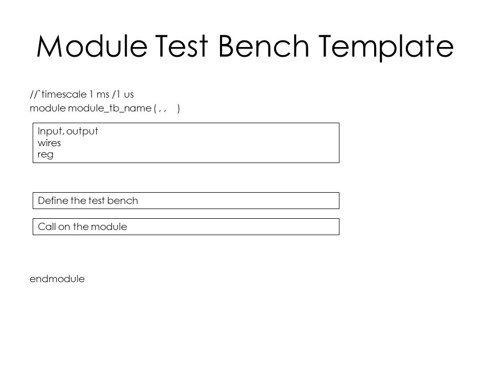 Module Test Bench Template //`timescale 1 ms /1 us module module_tb_name (,, ) endmodule Input, output wires reg Define the test bench Call on the mod