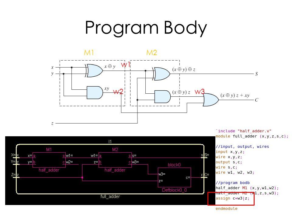 Program Body w1 w2w3 M1M2