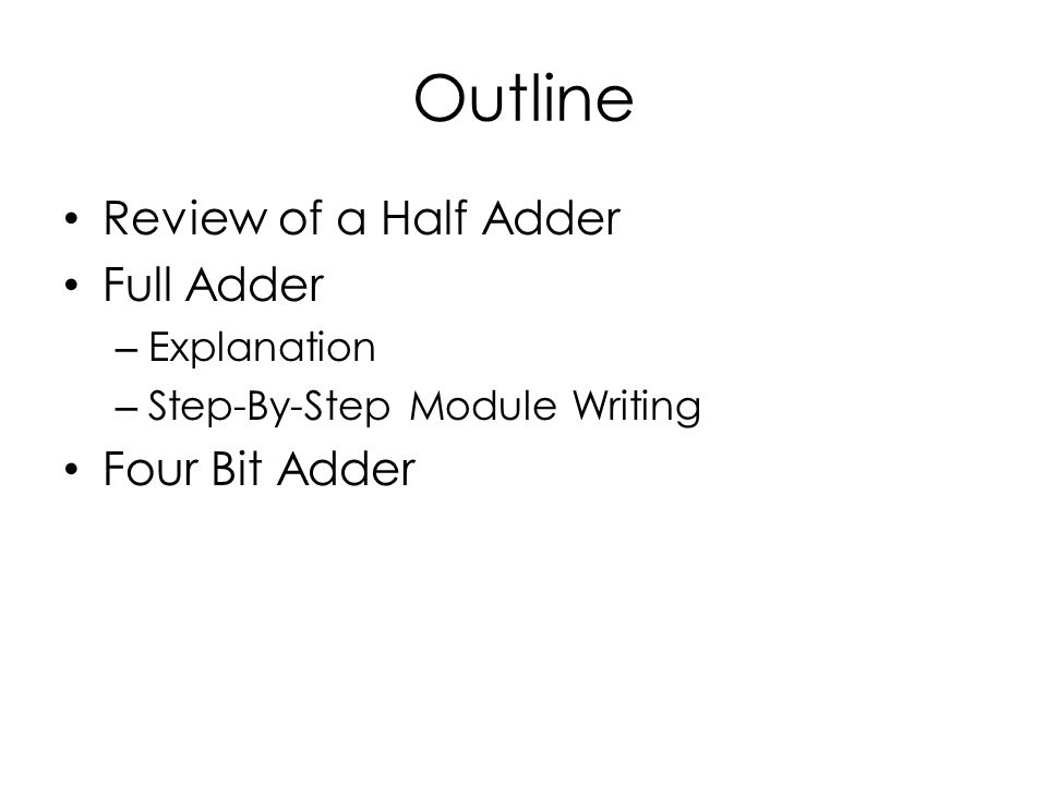 Outline Review of a Half Adder Full Adder – Explanation – Step-By-Step Module Writing Four Bit Adder