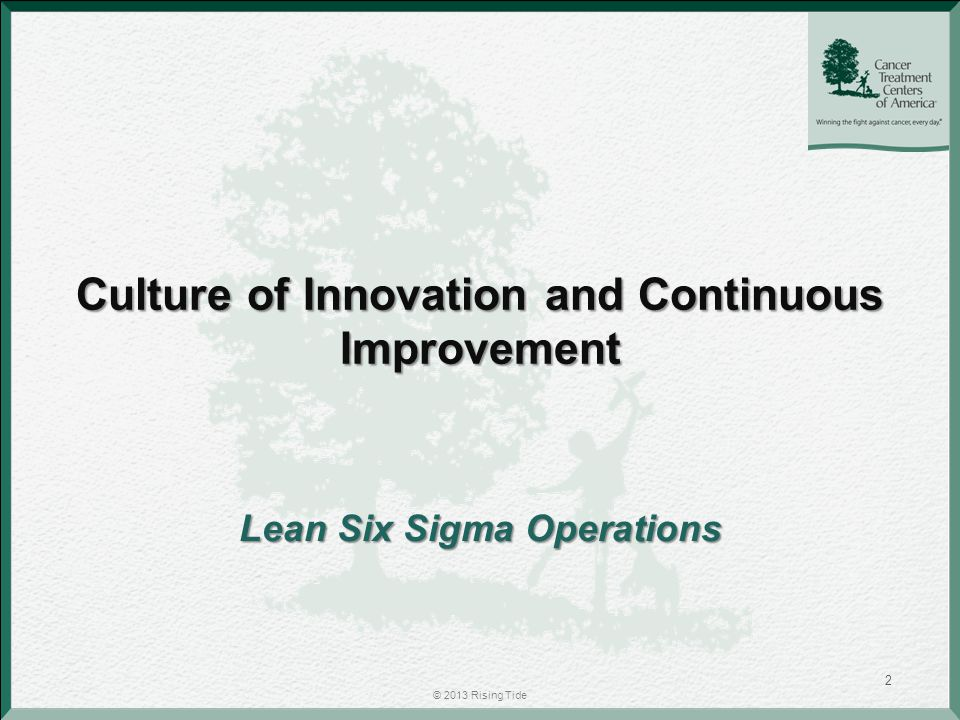 Culture of Innovation and Continuous Improvement Lean Six Sigma Operations © 2013 Rising Tide 2