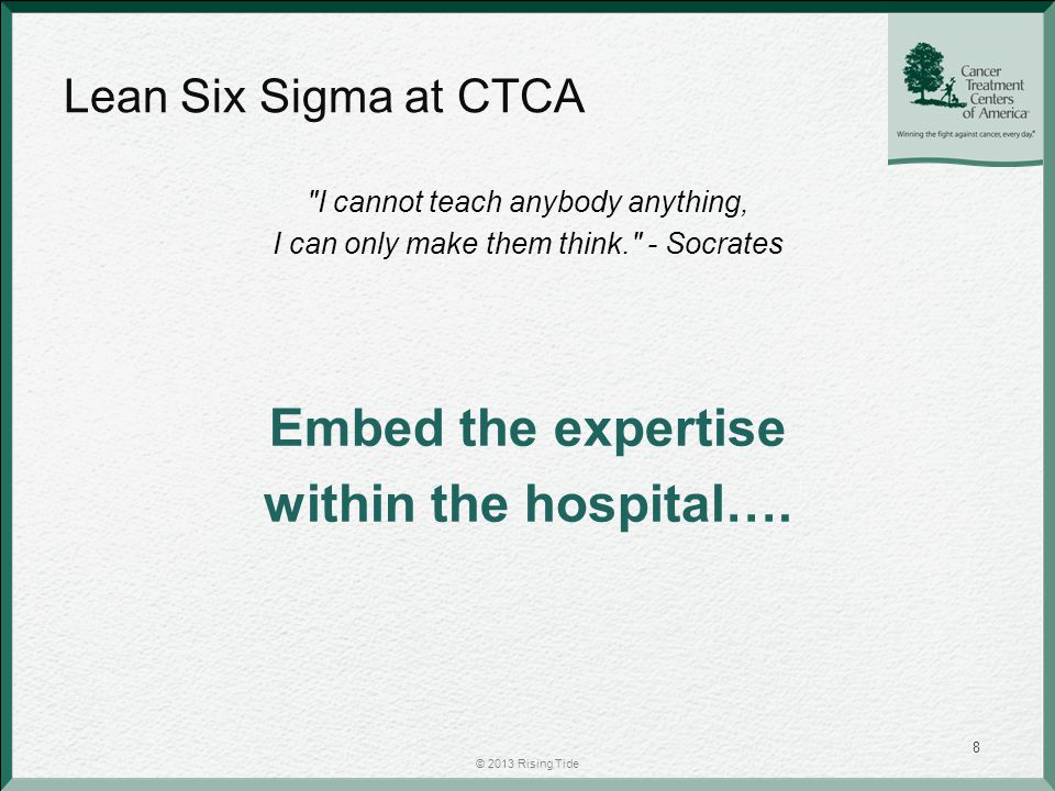 Lean Six Sigma at CTCA The Efficient Translation of Customer Desires into Patient Loyalty Efficient – Best way not the fastest way – Identify and eliminate non value add activities – Total involvement LSS culture at CTCA fostered through: Lean Daily Management System A3 Process Improvement Program Green Belt Training Program Kaizen Events Strategic Improvement Mapping (SIM) Events Key Performance Indicators (KPI's) Reward and Recognition Program © 2013 Rising Tide 9