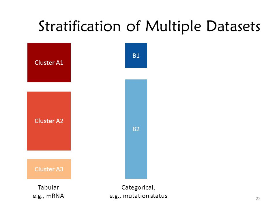 Stratification of Multiple Datasets 22 Cluster A1 Cluster A2 Cluster A3 B1 B2 Tabular e.g., mRNA Categorical, e.g., mutation status