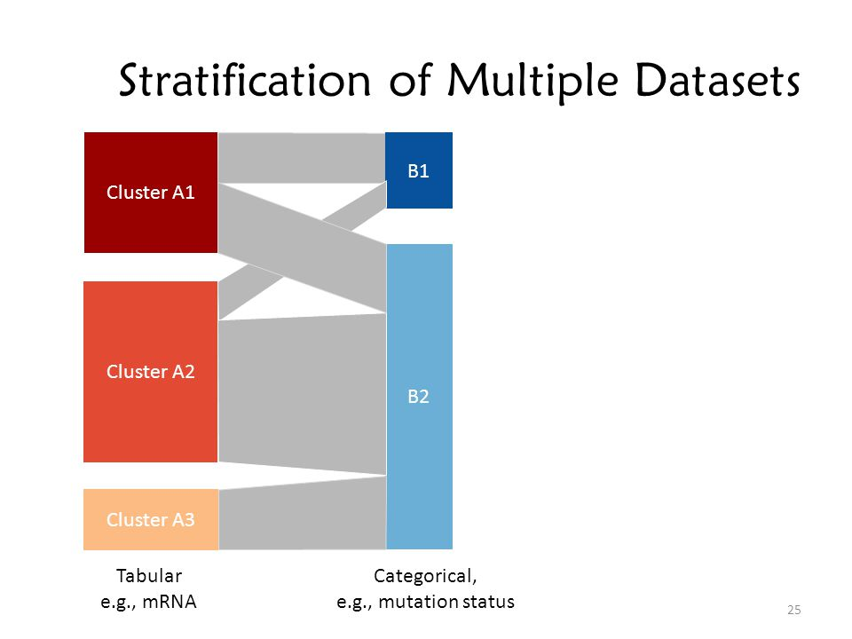 Stratification of Multiple Datasets Cluster A1 Cluster A2 Cluster A3 B1 B2 Tabular e.g., mRNA Categorical, e.g., mutation status 25