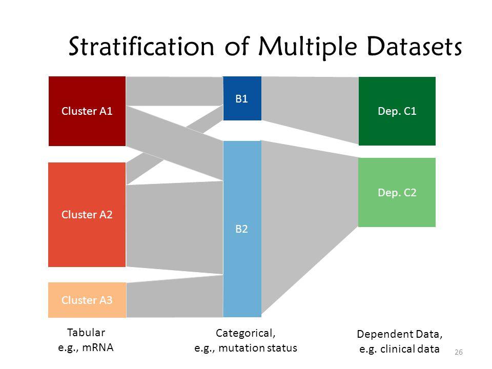 Stratification of Multiple Datasets Cluster A1 Cluster A2 Cluster A3 B1 B2 Dependent Data, e.g.