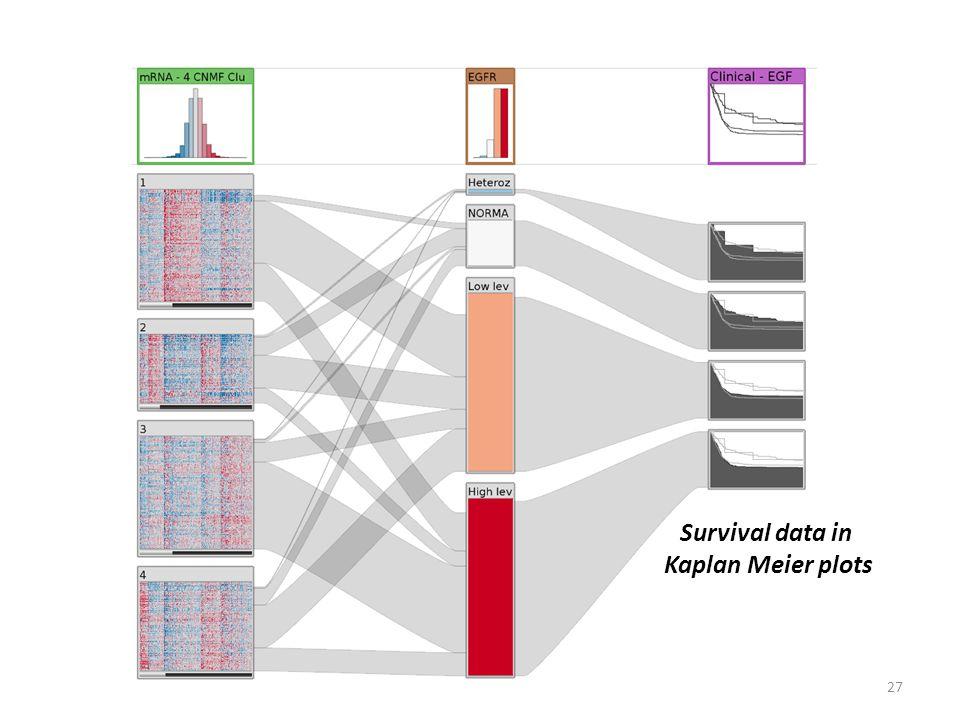 27 Survival data in Kaplan Meier plots