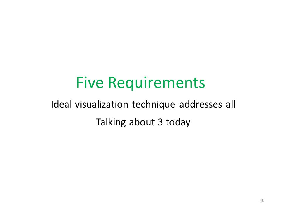 Five Requirements Ideal visualization technique addresses all Talking about 3 today 40