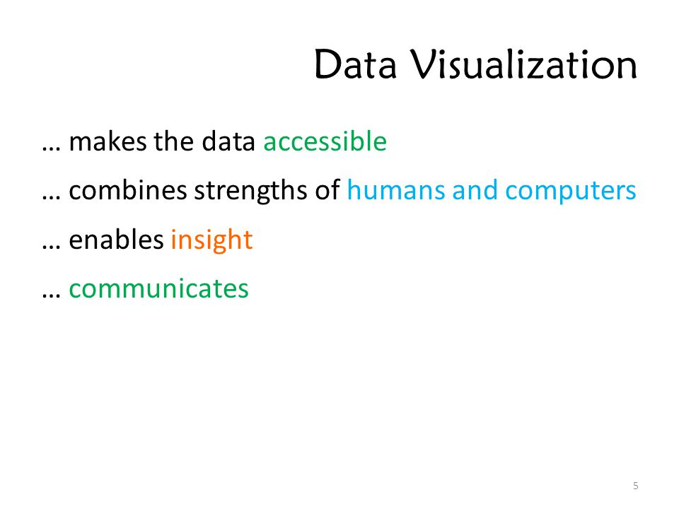 Data Visualization … makes the data accessible … combines strengths of humans and computers … enables insight … communicates 5