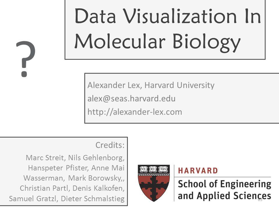 Data Visualization In Molecular Biology Alexander Lex, Harvard University alex@seas.harvard.edu http://alexander-lex.com .