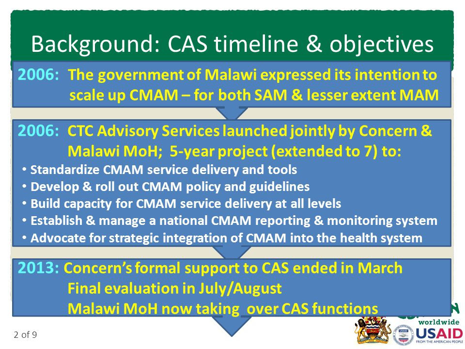 2 of 9 Background: CAS timeline & objectives 2006: The government of Malawi expressed its intention to scale up CMAM – for both SAM & lesser extent MA